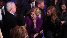 DES MOINES, IOWA - JANUARY 14: Sen. Elizabeth Warren (D-MA) greets audience members after the Democratic presidential primary debate at Drake University on January 14, 2020 in Des Moines, Iowa. (Photo by Scott Olson/Getty Images)