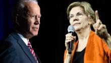 Joe Biden (L) y Elizabeth Warren (R). Source: Getty.