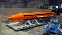 A GBU-43 Massive Ordnance Air Blast (MOAB) bomb being prepared for testing at the Eglin Air Force Armament Center, Florida, USA, on Mar. 11, 2003. EPA/Department of Defense