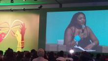 Alicia Garza at the AWID Forum plenary 2016. Photo: Wikimedia