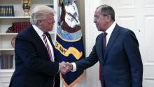 US President Donald J. Trump shaking hands with Russian Foreign Minister Sergei Lavrov during their meeting in the White House in Washington, DC, USA, 10 May 2017 EPA/RUSSIAN FOREIGN MINISTRY