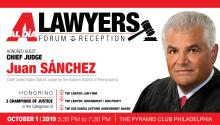 Juan R. Sánchez, the first Latino chief judge of the Eastern District of Pennsylvania, will be our honored guest for the 2019 AL DÍA Lawyers Forum & Reception event on Oct. 1. Photo: Maybeth Peralta/AL DÍA News