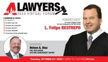 AL DÍA's 2020 Top Lawyers Forum will take place virtually on Oct. 22 at 5:30. Graphic: AL DÍA News.