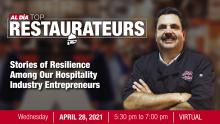 The AL DÍA Top Restaurateurs virtual event will take place April 28. Graphic: AL DÍA News.