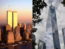 The New York City skyline has seen quite the change since 9/11. Photos: Stock photo (left), Angela Weiss/AFP via Getty Images (right).